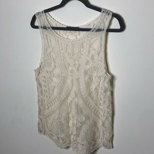 Anthropologie Dulcie white lace top